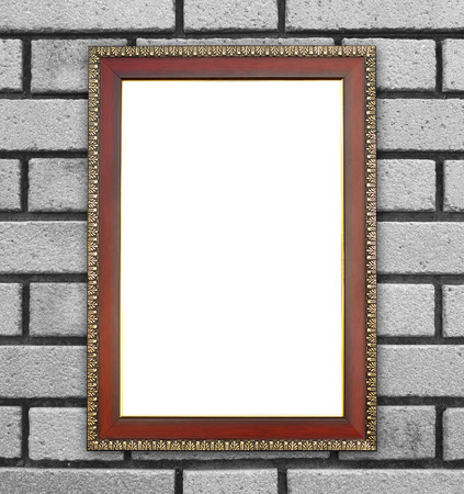 blank wood frame on brick stone wall background photo