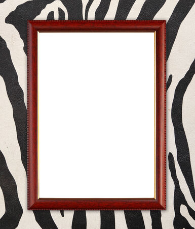blank wood frame on zebra texture background photo