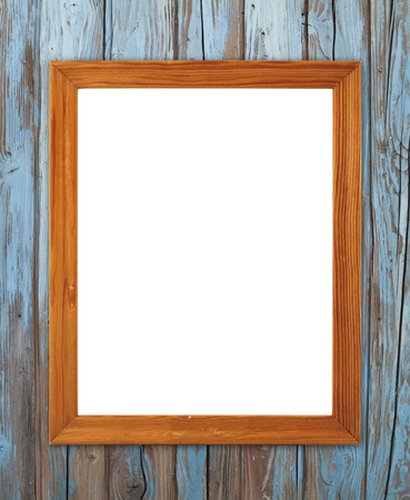 blank wood frame on wood wall background photo