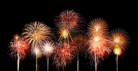 beautiful fireworks over sky at the night photo