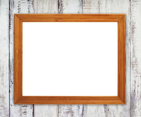 blank wood frame on wood wall background photo