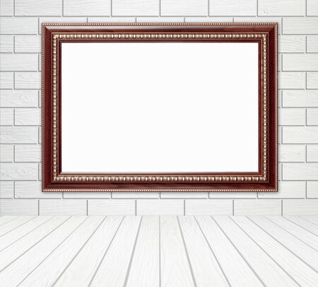 blank wood frame in room with brick wall and wood floor background photo