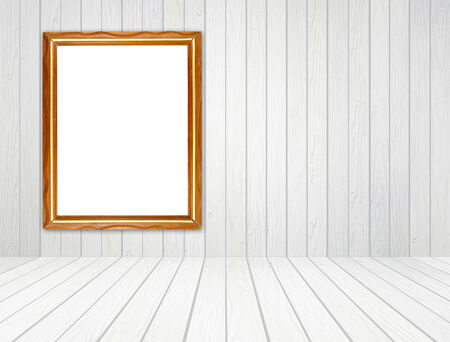 white wood floor: blank wood frame in room with white wood wall and wood floor background Stock Photo