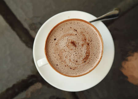 cup of hot chocolate in cafe photo