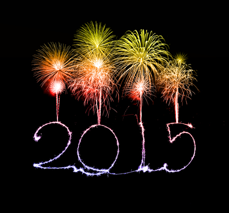 Happy New Year - 2015 made a sparkler with fireworks photo