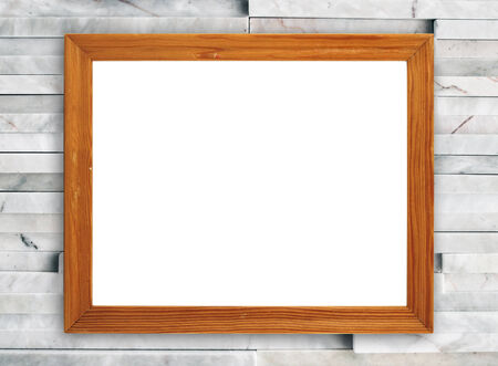 blank wood frame on modern marble wall background photo