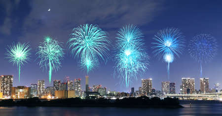 Fireworks celebrating over Odaiba, Tokyo cityscape at night, Japan photo