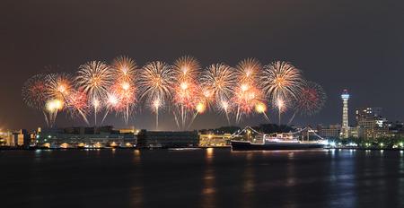 Fireworks celebrating over  marina bay in Yokohama City, Japan photo
