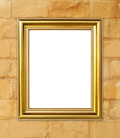 gild: blank golden frame on brick stone wall background