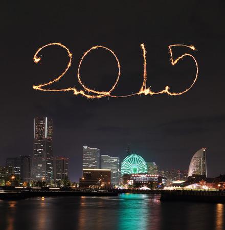 2015 New Year Fireworks celebrating over  marina bay in Yokohama City, Japan