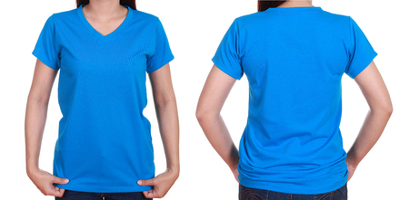 blank t-shiet set (front, back) with female isolate on white background photo