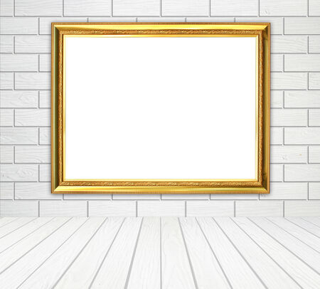 white wood floor: blank golden frame in room with white wood wall (block style) and wood floor background Stock Photo
