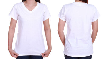 blank t-shiet set (front, back) with female isolated on white background photo