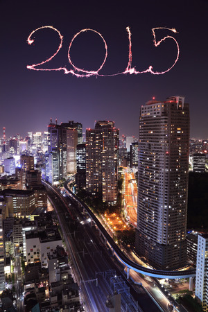2015 New Year Fireworks celebrating over Tokyo cityscape at night, Japan photo