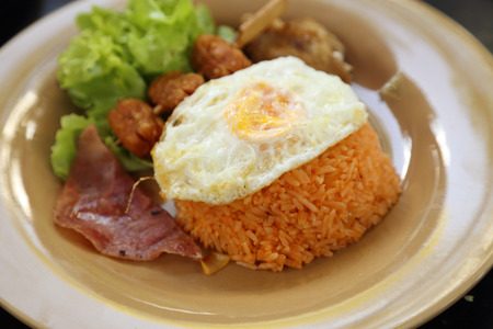 American style breakfast set, fried rice (Thai food) photo