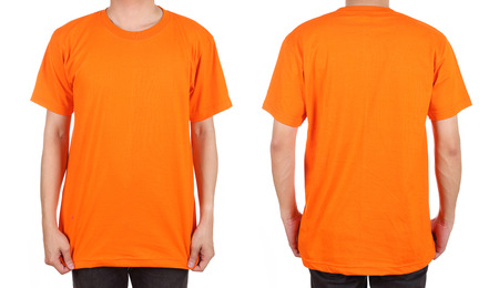 blank t-shirt set (front, back) on man isolated on white background