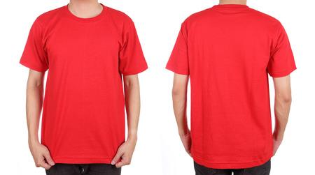 hombre rojo: conjunto blanco t-shirt (delante, detr�s) en el hombre aislado en el fondo blanco