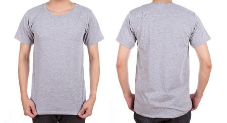 blank t-shirt set (front, back) on man isolated on white background