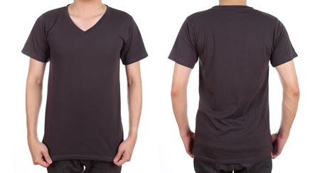 blank t-shirt set (front, back) on man isolated on white background photo