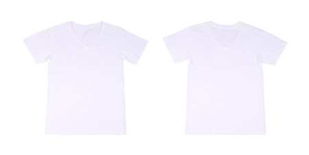 t-shirt template set(front, back) on white background photo