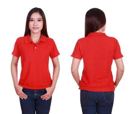 wearing: set of blank polo shirt (front, back) on woman isolated on white background Stock Photo