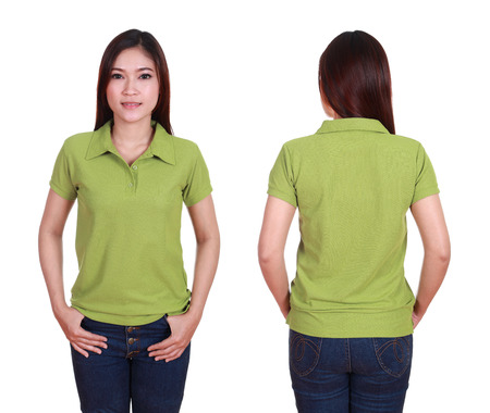polo t shirt: set of blank polo shirt (front, back) on woman isolated on white background Stock Photo