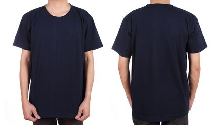 on black: blank t-shirt set (front, back) on man isolated on white background