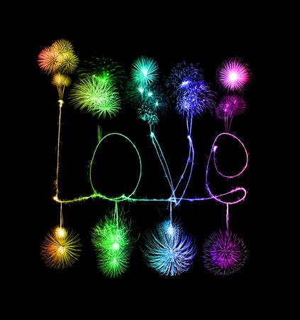 Love sparkler firework light alphabet (Valentines Day) photo