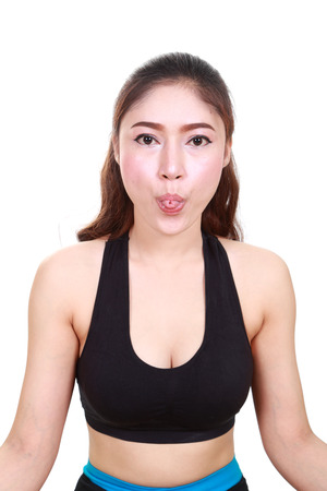Portrait Fitness Woman (tongue was wrapped). isolated on white