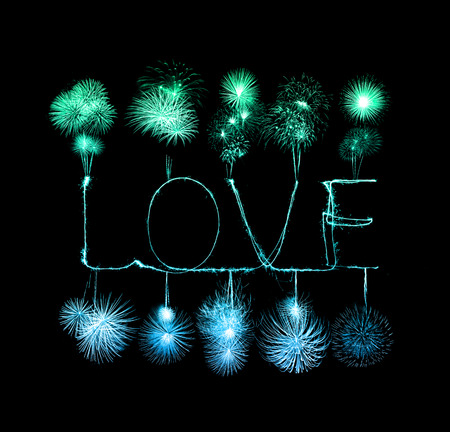 Love sparkler firework light alphabet (Valentines Day) photo