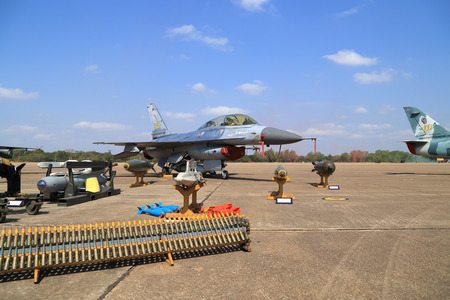 children's show: Nakhon Ratchasima - JAN 10: F-16 show on childrens Day at Korat Wing 1 Royal Thai Airforce Base located in Thailand, January 10, 2015, Nakhon Ratchasima, Thailand Editorial