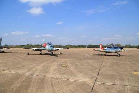 children's show: Nakhon Ratchasima - JAN 10: airplane show on childrens Day at Korat Wing 1 Royal Thai Airforce Base located in Thailand, January 10, 2015, Nakhon Ratchasima, Thailand