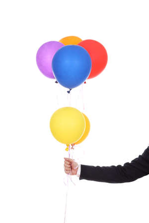 business hand with colorful balloons isolated on a white background photo