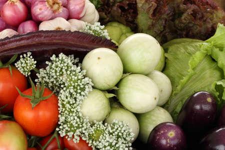 african basket: green eggplants and vegetable healthy food (organic and fresh food)