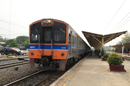 thanon: Nakhon Ratchasima, Thailand - March 23, 2015: Thai Railways regional train on Track One at the Thanon Chira Junction Railway Station on March 23, 2015 at Nakhon Ratchasima, Thailand