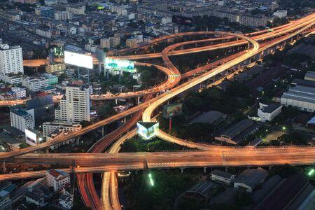 night views: Bangkok Expressway and Highway top view at night, Thailand Stock Photo