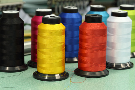 reels of thread of Machine embroider Stock Photo
