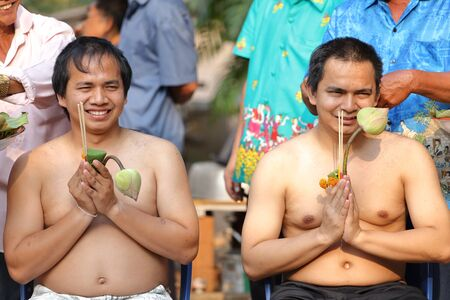 make belief: Male who will be monk cut hair for be Ordained to new monk