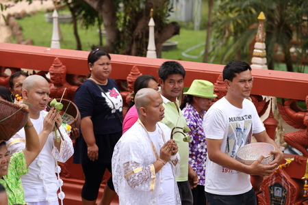 ordination: NAKHON RATCHASIMA , THAILAND - APRIL 12: the ordination ceremony that change the Thai young men to be the new monks at Chae Temple on April 12, 2015 in Nakhon Ratchasima , Thailand