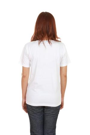 female with blank white t-shirt (back side) isolated on white background photo