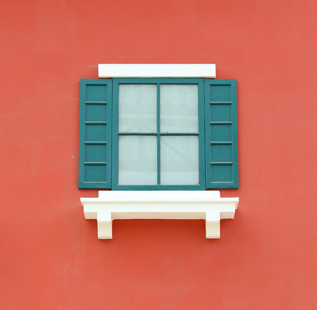 Vintage window with wall background (Venice or Italian style) photo