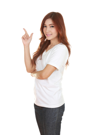 Woman think of idea with white t-shirt isolated on white background photo
