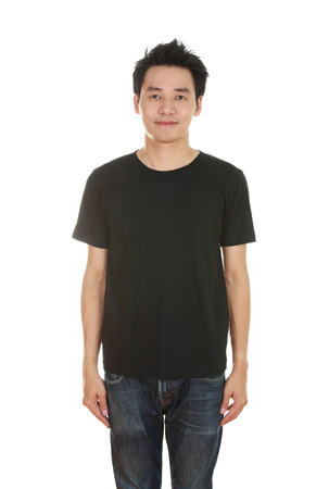 man with blank black t-shirt isolated on white background photo