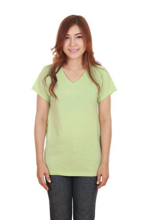 young beautiful female with blank green t-shirt isolated on white background photo
