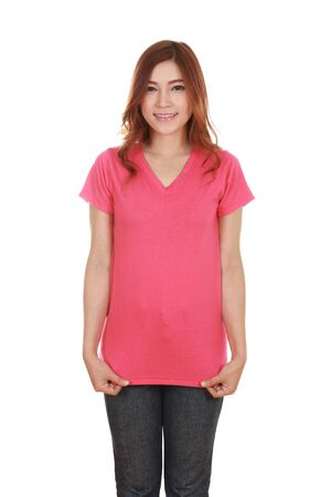 young beautiful female with blank pink t-shirt isolated on white background photo