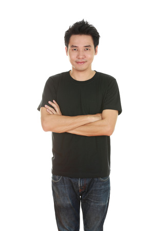 man with arms crossed, wearing black t-shirt isolated on white background. photo