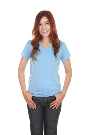 young beautiful female with blank blue t-shirt isolated on white background photo