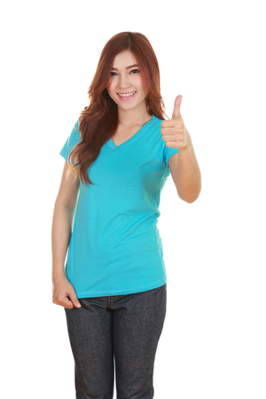 woman in blank t-shirt with thumbs up isolated on white background photo