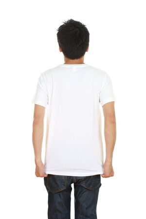 man with blank t-shirt (back side) isolated on white background photo