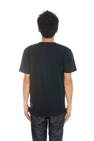 man with blank black t-shirt (back side) isolated on white background photo